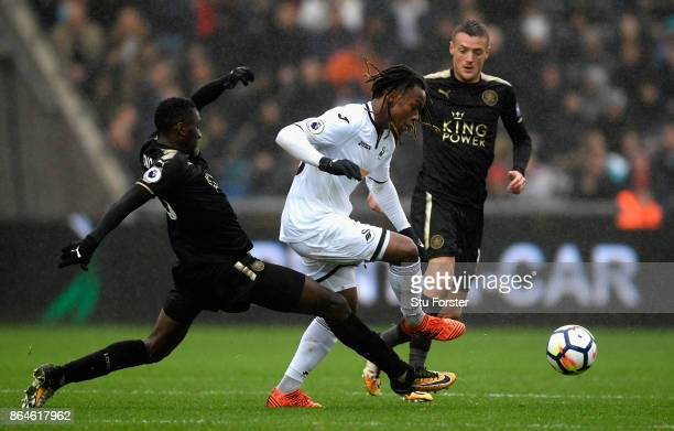 Renato Sanches of Swansea City is tackled by Wilfred Ndidi of Leicester City during the Premier League match between Swansea City and Leicester City...