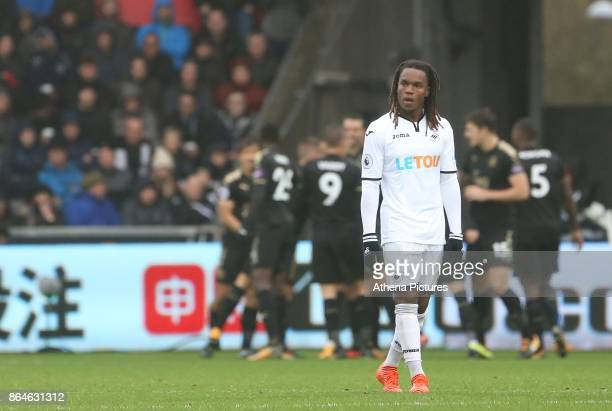 Renato Sanches of Swansea City looks on as Leicester celebrate their second goal during the Premier League match between Swansea City and Leicester...