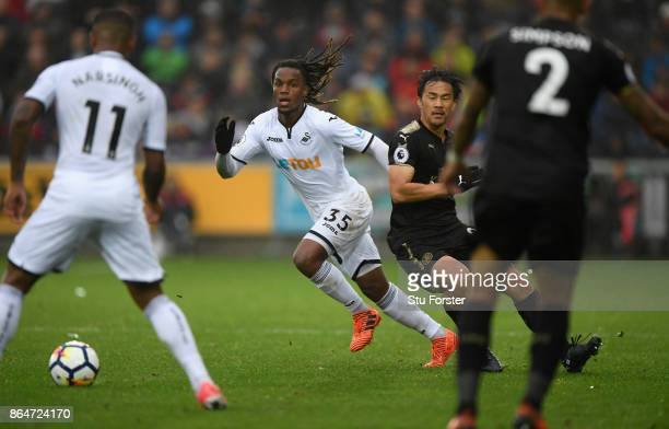 Renato Sanches of Swansea in action during the Premier League match between Swansea City and Leicester City at Liberty Stadium on October 21 2017 in...