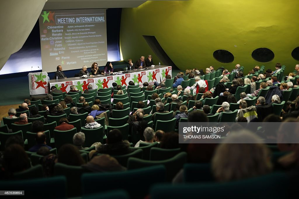 Renato Soeiro of the Portuguese left-wing political party Bloco de Esquerda (Left Bloc), Barbara Spinelli of the left-wing Italian political alliance Altra Europa, French Left Front member of the European Parliament Marie Christine Vergiat, Myriam Martin, spokesperson of 'Ensemble', Clementine Autain, spokesperson of 'Ensemble', Pierre Laurent, head of the French Communist Party (PCF), and General Coordinator of the Parti de Gauche (Left Party, PG) Eric Coquerel attend a meeting of the French political movement 'Ensemble' in Bobigny, near Paris, on January 30, 2015. AFP PHOTO / THOMAS SAMSON
