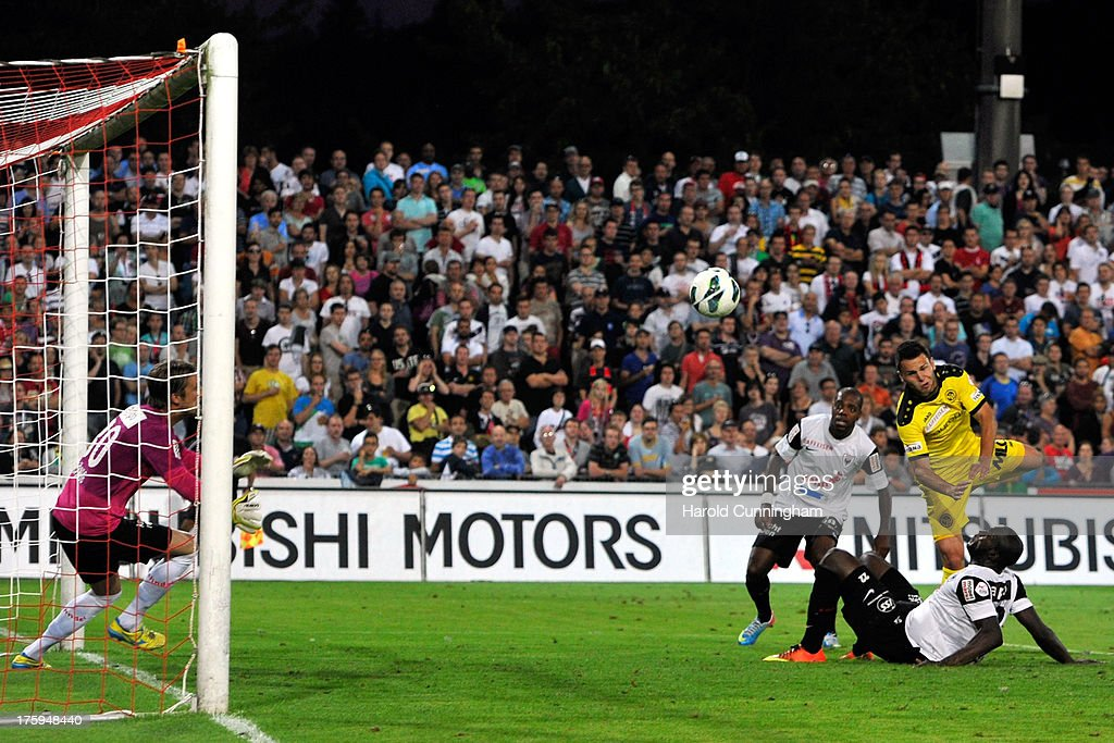 Renato Steffen scores the third goal for BSC Young Boys during the Swiss Super League match between FC Aarau v BSC Young Boys at Brugglifeld on August 10, 2013 in Aarau, Switzerland.