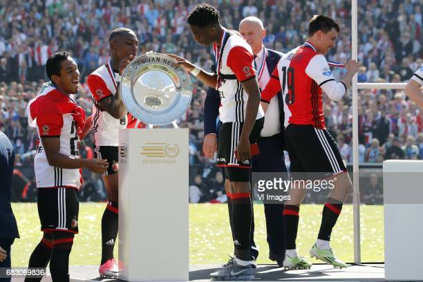 Renato Tapia of Feyenoord Eljero Elia of Feyenoord Terence Kongolo of Feyenoord Steven Berghuis of Feyenoord with the tropheeduring the Dutch...
