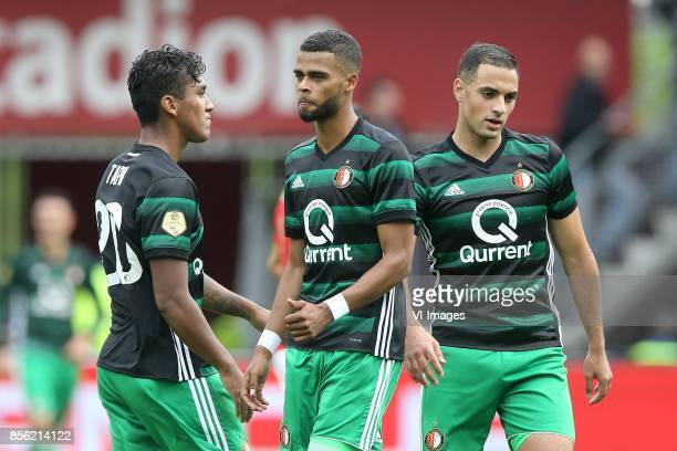 Renato Tapia of Feyenoord Jeremiah St Juste of Feyenoord Sofyan Amrabat of Feyenoord during the Dutch Eredivisie match between AZ Alkmaar and...
