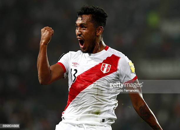 Renato Tapia of Peru celebrates after scoring the second goal of his team during a match between Peru and Ecuador as part of FIFA 2018 World Cup...