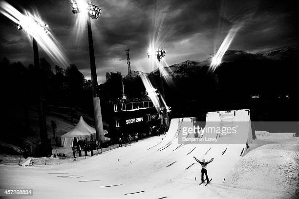 Renato Ulrich of Switzerland competes in the Freestyle Skiing Men's Aerials Finals on day ten of the 2014 Winter Olympics at Rosa Khutor Extreme Park...