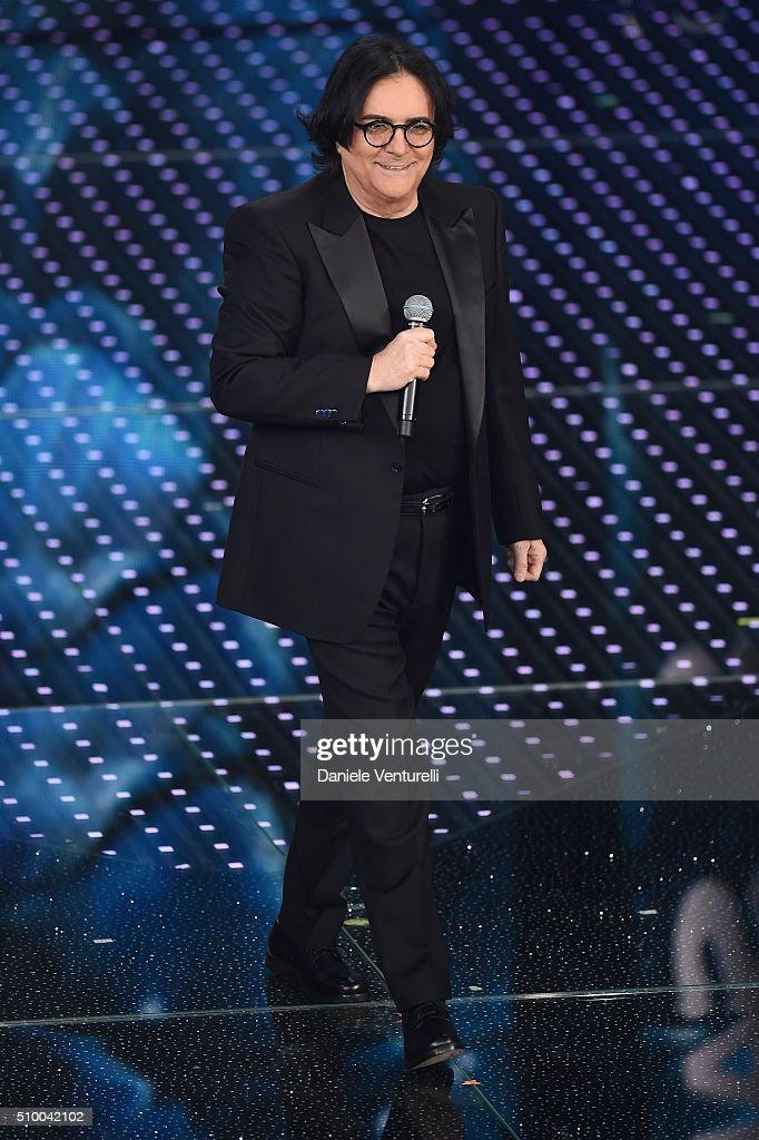 <a gi-track='captionPersonalityLinkClicked' href=/galleries/search?phrase=Renato+Zero&family=editorial&specificpeople=2132359 ng-click='$event.stopPropagation()'>Renato Zero</a> attends the closing night of 66th Festival di Sanremo 2016 at Teatro Ariston on February 13, 2016 in Sanremo, Italy.