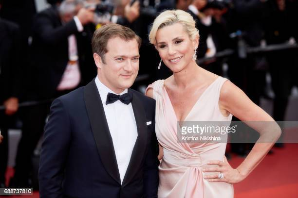 Renaud Capucon and Laurence Ferrari attend the 'Amant Double ' screening during the 70th annual Cannes Film Festival at Palais des Festivals on May...