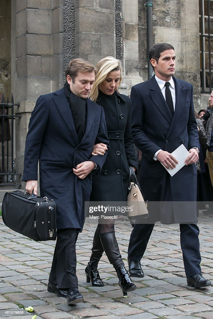 Renaud Capucon and Laurence Ferrari leave the funeral of journalist Jacques Chancel at SaintGermaindesPres church on January 6 2015 in Paris France
