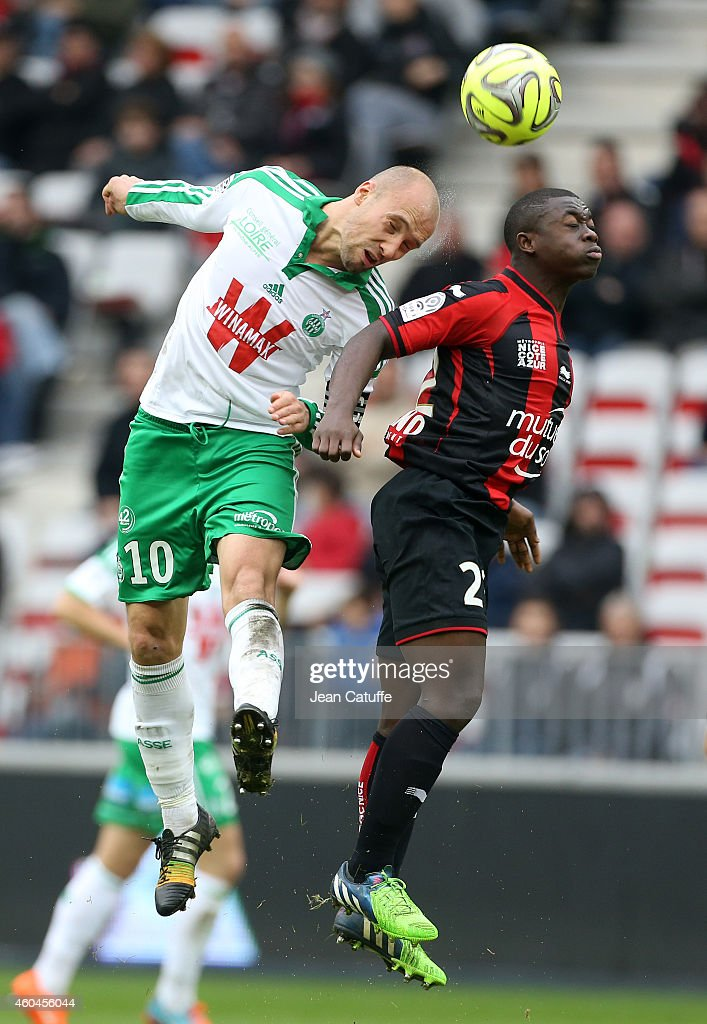 <a gi-track='captionPersonalityLinkClicked' href=/galleries/search?phrase=Renaud+Cohade&family=editorial&specificpeople=2626266 ng-click='$event.stopPropagation()'>Renaud Cohade</a> of Saint-Etienne and Nampalys Mendy of Nice in action during the French Ligue 1 match between OGC Nice and AS Saint-Etienne, ASSE, at the Allianz Riviera stadium on December 14, 2014 in Nice, France.