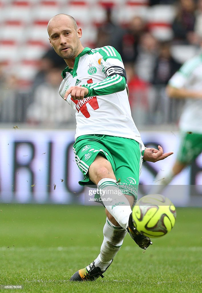 <a gi-track='captionPersonalityLinkClicked' href=/galleries/search?phrase=Renaud+Cohade&family=editorial&specificpeople=2626266 ng-click='$event.stopPropagation()'>Renaud Cohade</a> of Saint-Etienne in action during the French Ligue 1 match between OGC Nice and AS Saint-Etienne, ASSE, at the Allianz Riviera stadium on December 14, 2014 in Nice, France.