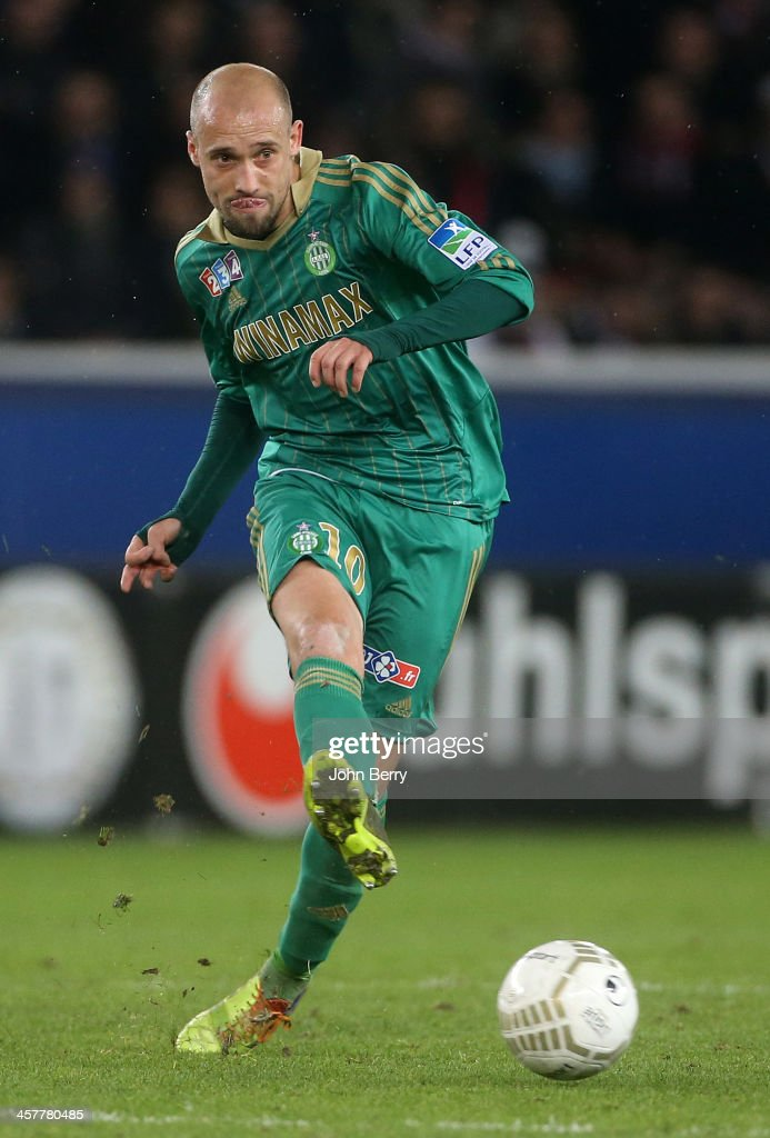 <a gi-track='captionPersonalityLinkClicked' href=/galleries/search?phrase=Renaud+Cohade&family=editorial&specificpeople=2626266 ng-click='$event.stopPropagation()'>Renaud Cohade</a> of Saint-Etienne in action during the french Ligue Cup match between Paris Saint-Germain FC and AS Saint-Etienne, ASSE, at the Parc des Princes stadium on December 18, 2013 in Paris, France.