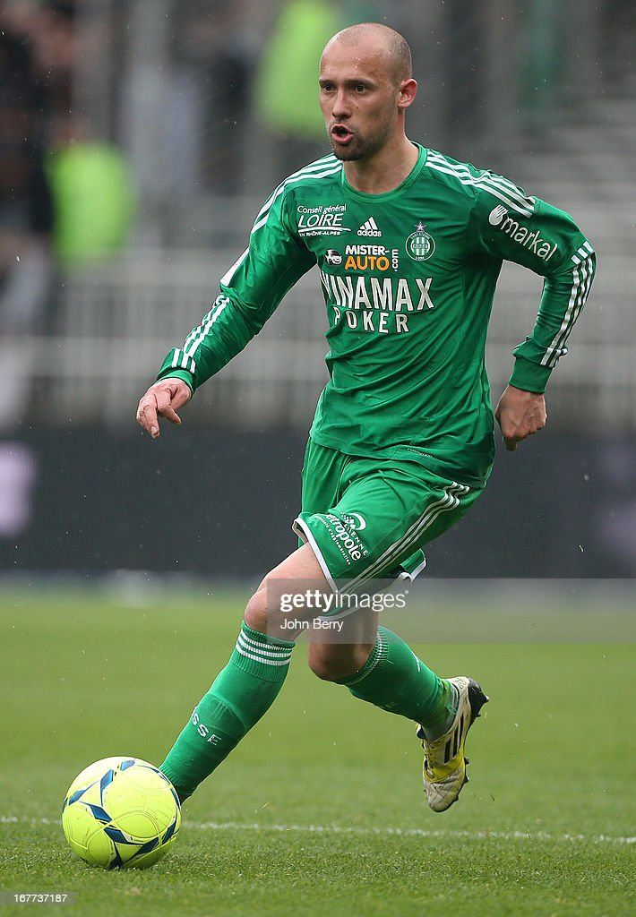 <a gi-track='captionPersonalityLinkClicked' href=/galleries/search?phrase=Renaud+Cohade&family=editorial&specificpeople=2626266 ng-click='$event.stopPropagation()'>Renaud Cohade</a> of Saint-Etienne in action during the Ligue 1 match between Olympique Lyonnais, OL, and AS Saint-Etienne, ASSE, at the Stade Gerland on April 28, 2013 in Lyon, France.