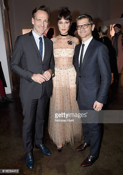 Renaud de Lesquen Bella Hadid and Serge Brunschwig attend Dior Beauty celebrates The Art of Color with Peter Philips on October 25 2016 in New York...