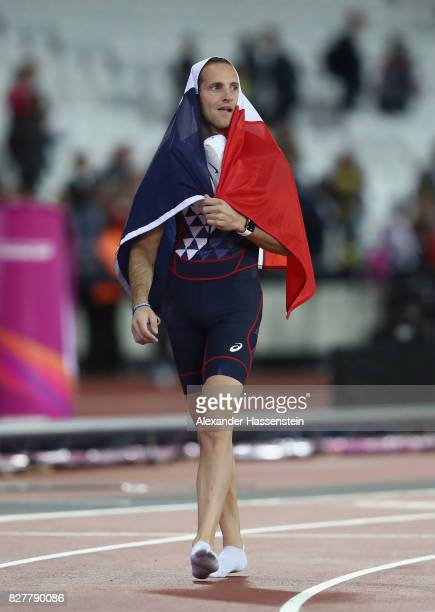Renaud Lavillenie of France bronze celebrates after the Men's Pole Vault final during day five of the 16th IAAF World Athletics Championships London...