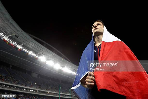 Renaud Lavillenie of France celebrates after placing second in the Men's Pole Vault final on Day 10 of the Rio 2016 Olympic Games at the Olympic...