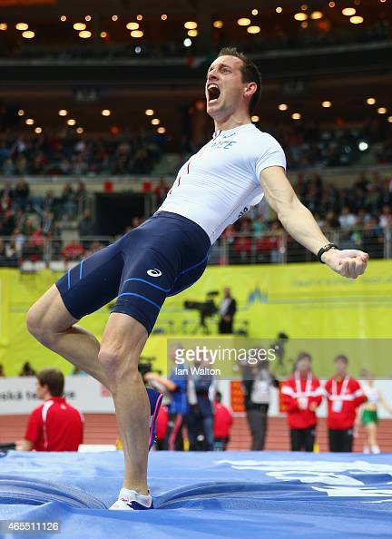 Renaud Lavillenie of France celebrates breaking the championship record in the Men's Pole Vault Final during day two of the 2015 European Athletics...