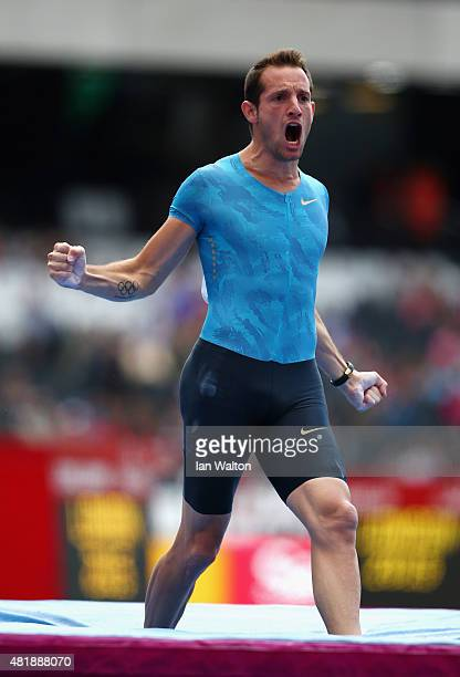 Renaud Lavillenie of France celebrates duirng the Mens Pole Vault on day two of the Sainsbury's Anniversary Games at The Stadium Queen Elizabeth...