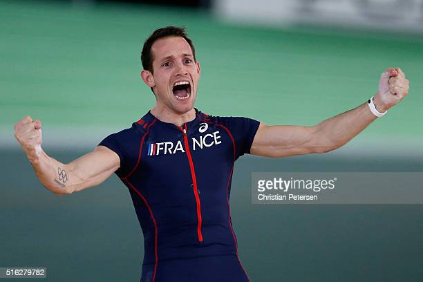 Renaud Lavillenie of France celebrates in the Men's Pole Vault Final during day one of the IAAF World Indoor Championships at Oregon Convention...