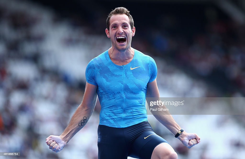 <a gi-track='captionPersonalityLinkClicked' href=/galleries/search?phrase=Renaud+Lavillenie&family=editorial&specificpeople=4955096 ng-click='$event.stopPropagation()'>Renaud Lavillenie</a> of France celebrates winning the Mens Pole Vault on day two of the Sainsbury's Anniversary Games at The Stadium - Queen Elizabeth Olympic Park on July 25, 2015 in London, England.