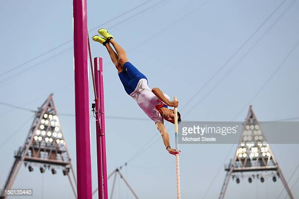 Renaud Lavillenie of France competes during the Men's Pole Vault Final on Day 14 of the London 2012 Olympic Games at Olympic Stadium on August 10...