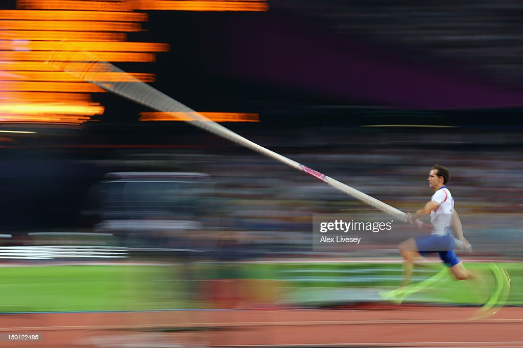 <a gi-track='captionPersonalityLinkClicked' href=/galleries/search?phrase=Renaud+Lavillenie&family=editorial&specificpeople=4955096 ng-click='$event.stopPropagation()'>Renaud Lavillenie</a> of France competes during the Men's Pole Vault Final on Day 14 of the London 2012 Olympic Games at Olympic Stadium on August 10, 2012 in London, England.