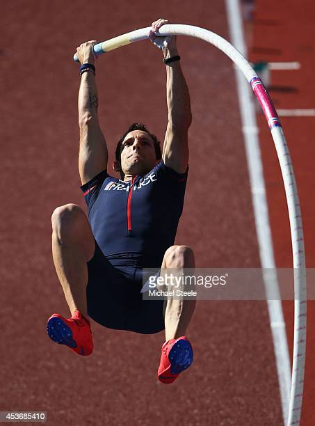 Renaud Lavillenie of France competes in the competes in the Men's Pole Vault final during day five of the 22nd European Athletics Championships at...
