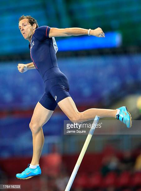 Renaud Lavillenie of France competes in the Men's Pole Vault final during Day Three of the 14th IAAF World Athletics Championships Moscow 2013 at...