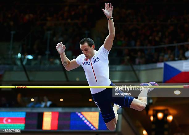 Renaud Lavillenie of France competes in the Men's Pole Vault Final during day two of the 2015 European Athletics Indoor Championships at O2 Arena on...