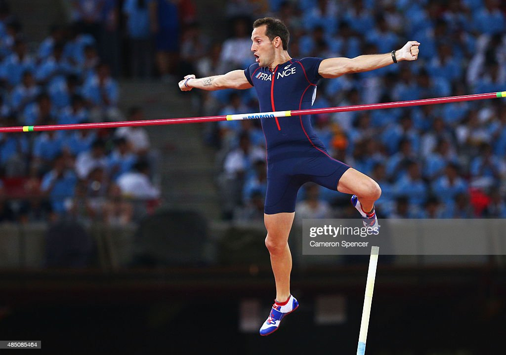 <a gi-track='captionPersonalityLinkClicked' href=/galleries/search?phrase=Renaud+Lavillenie&family=editorial&specificpeople=4955096 ng-click='$event.stopPropagation()'>Renaud Lavillenie</a> of France competes in the Men's Pole Vault final during day three of the 15th IAAF World Athletics Championships Beijing 2015 at Beijing National Stadium on August 24, 2015 in Beijing, China.