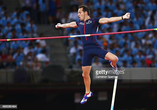 Renaud Lavillenie of France competes in the Men's Pole Vault final during day three of the 15th IAAF World Athletics Championships Beijing 2015 at...