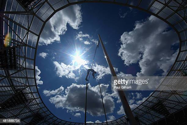 Renaud Lavillenie of France competes in the Mens Pole Vault on day two of the Sainsbury's Anniversary Games at The Stadium Queen Elizabeth Olympic...