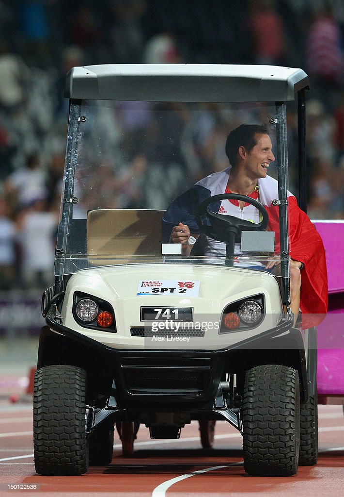 <a gi-track='captionPersonalityLinkClicked' href=/galleries/search?phrase=Renaud+Lavillenie&family=editorial&specificpeople=4955096 ng-click='$event.stopPropagation()'>Renaud Lavillenie</a> of France drives a vehicle along the track as he celebrates winning gold in the Men's Pole Vault Final on Day 14 of the London 2012 Olympic Games at Olympic Stadium on August 10, 2012 in London, England.