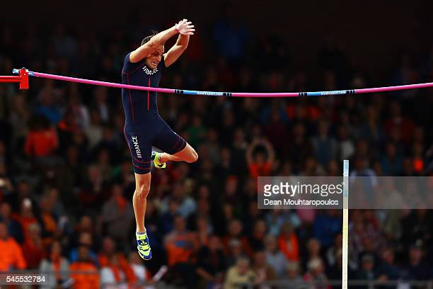 Renaud Lavillenie of France in action during the final of the mens pole vault on day three of The 23rd European Athletics Championships at Olympic...