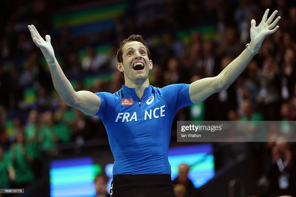 <a gi-track='captionPersonalityLinkClicked' href=/galleries/search?phrase=Renaud+Lavillenie&family=editorial&specificpeople=4955096 ng-click='$event.stopPropagation()'>Renaud Lavillenie</a> of France reacts in the Men's Pole Vault Final during day three of European Indoor Athletics at Scandinavium on March 3, 2013 in Gothenburg, Sweden.
