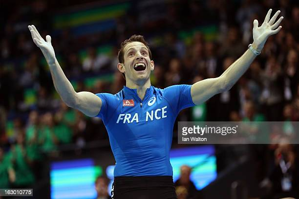 Renaud Lavillenie of France reacts in the Men's Pole Vault Final during day three of European Indoor Athletics at Scandinavium on March 3 2013 in...