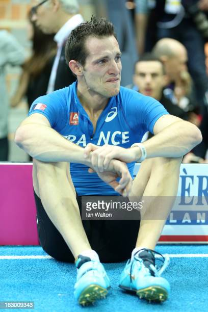 Renaud Lavillenie of France shows his emotions after his final jump was disallowed in the Men's Pole Vault Final during day three of European Indoor...