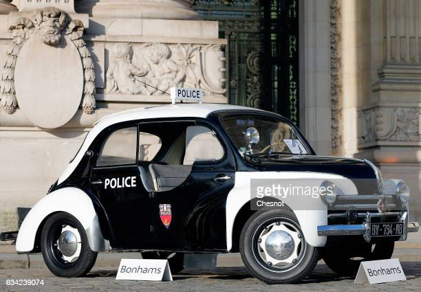Renault 4 ch 'pie' Prefecture de police model 1955 is displayed during a press preview before a mass auction of vintage vehicles organised by Bonhams...