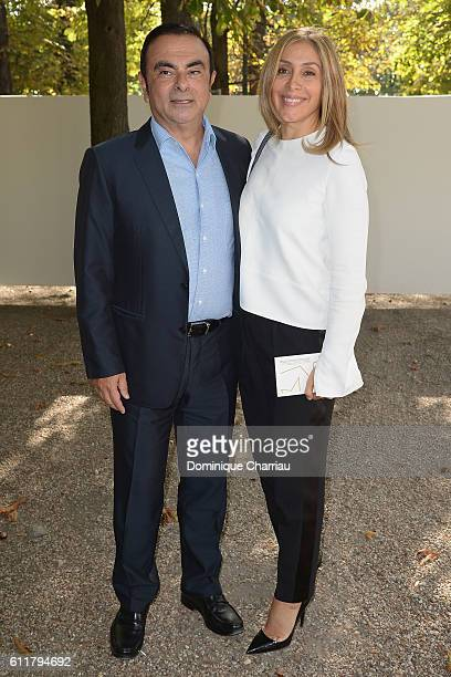 Renault Carlos Ghosn and his wife Carole attends the Elie Saab show as part of the Paris Fashion Week Womenswear Spring/Summer 2017 on October 1 2016...