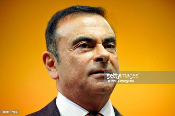 Renault CEO Carlos Ghosn looks on during the 83rd Geneva Motor Show on March 5 2013 in Geneva Switzerland Held annually the Geneva Motor Show is one...