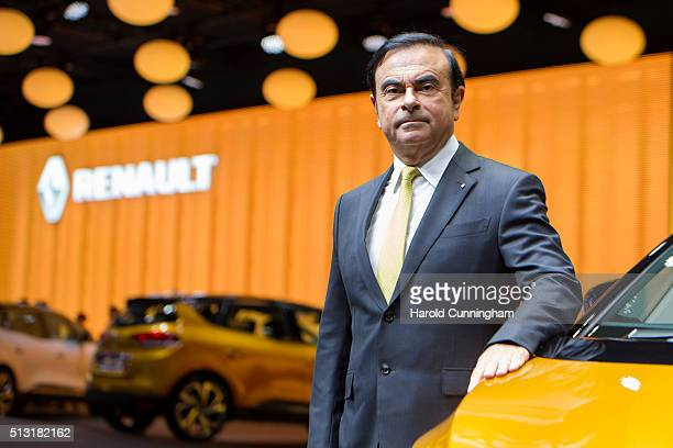 Renault CEO Carlos Ghosn poses during the Renault press conference as part of the Geneva Motor Show 2016 on March 1 2016 in Geneva Switzerland