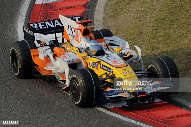 Renault driver Fernando Alonso of Spain drives a corner before finishing second fastest in the second free practice session of the Chinese Grand Prix...