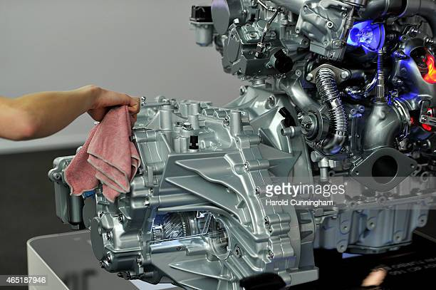 Renault engine is cleaned during the 85th International Motor Show on March 3 2015 in Geneva Switzerland The 85th International Motor Show held from...