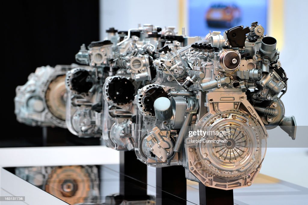 A Renault engine is displayed during the 83rd Geneva Motor Show on March 5, 2013 in Geneva, Switzerland. Held annually the Geneva Motor Show is one of the world's five most important auto shows with this year's event due to unveil more than 130 new products.