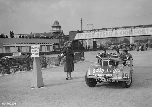 Renault open tourer competing in the JCC Rally Brooklands Surrey 1939 Artist Bill BrunellRenault Open tourer 1937 2400 cc Vehicle Reg No DXU585 Event...