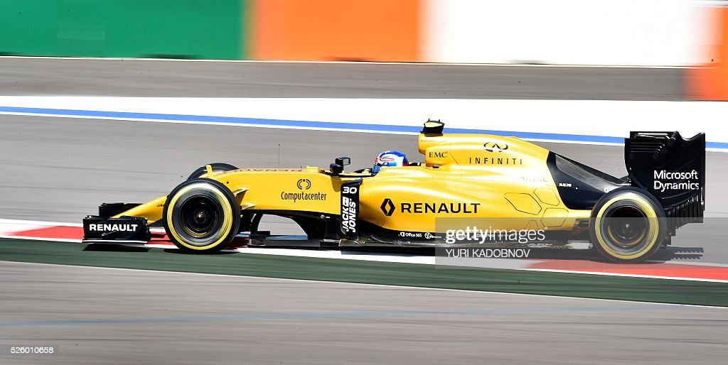 Renault Sport F1 Team's British driver Jolyon Palmer steers his car during the second practice session of the Formula One Russian Grand Prix at the Sochi Autodrom circuit on April 29, 2016. / AFP / YURI