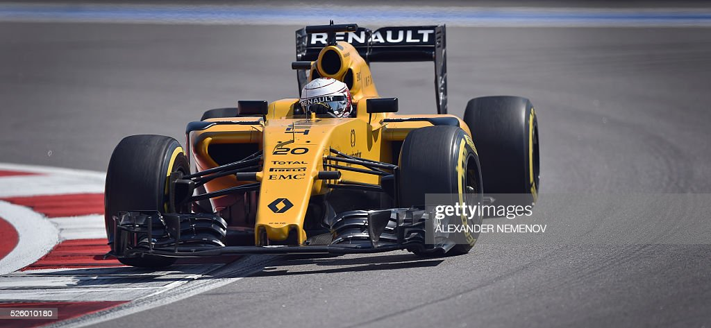 Renault Sport F1 Team's Danish driver Kevin Magnussen steers his car during the second practice session of the Formula One Russian Grand Prix at the Sochi Autodrom circuit on April 29, 2016. / AFP / ALEXANDER