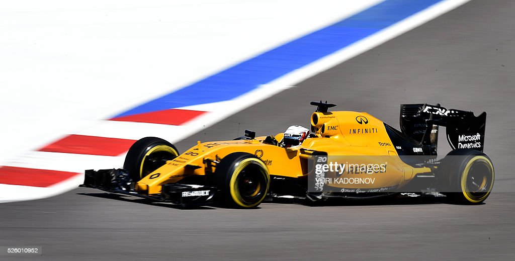 Renault Sport F1 Team's Danish driver Kevin Magnussen steers his car during the second practice session of the Formula One Russian Grand Prix at the Sochi Autodrom circuit on April 29, 2016. / AFP / YURI