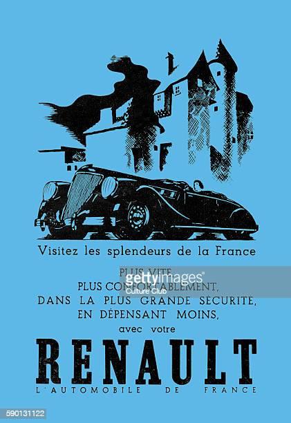 Renault the automobile of France Advertisement 1937 Caption reads 'Visitez les splendeurs de la France plus vite plus confortablement dans la plus...