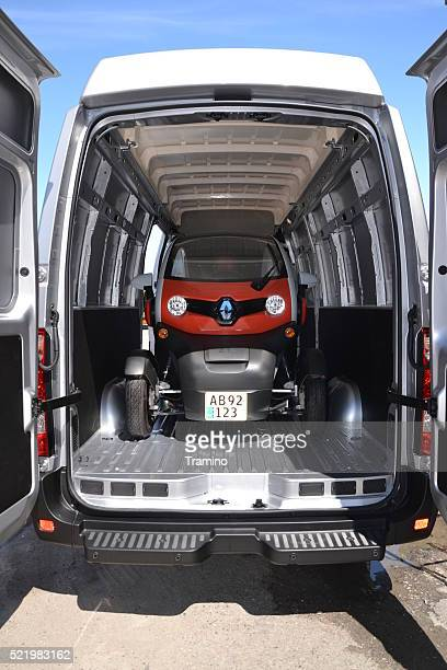 Renault Twizzy vehicle in the cargo hold of a van