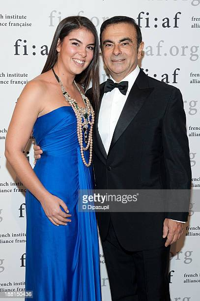 RenaultNissan Alliance Chairman and CEO Carlos Ghosn and daughter Caroline Ghosn attend the 2013 Trophee Des Arts gala on November 15 2013 in New...
